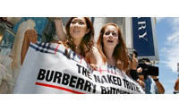 Naked activists march against Burberry use of fur in fashion