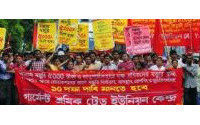 Bangladesh police break up textile workers protest
