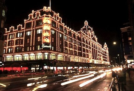 christmas lights on harrods department store photo corbis