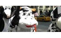 Activistas se disfrazan de vacas en Nueva York contra uso de cuero en calzado