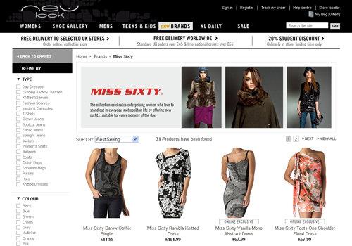 E-commerce, New Look