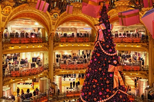 Christmas Tree Inside Parisian Shopping Store, Galeries Lafayette