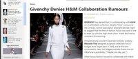 Givenchy否认将与H&M联名合作传闻
