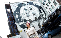 Behind Gucci's huge street mural for NYFW