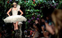 Biker ballerinas and flowers strut down Moschino's Milan catwalk