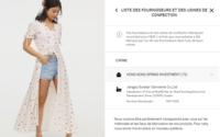 H&M détaille ses fournisseurs sur son e-shop pour chaque vêtement