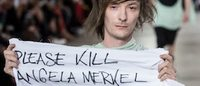 Rick Owens fashion show turns political with anti-Merkel sign