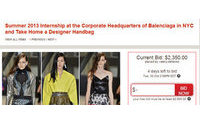 Balenciaga, Missoni, Valentino and Oscar de la Renta are offering internships…to the highest bidder.
