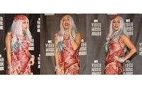 Lady Gaga's meat gown goes on display