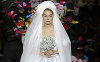 Milan Fashion Week: Gigi Hadid models Moschino's sumptuous bridal gown