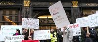 Striking Cartier workers protest at Paris store